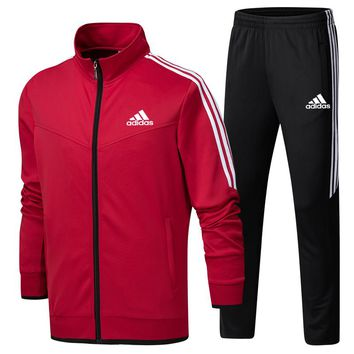 ADIDAS 2018 new sports running men and women casual fashion two-piece red