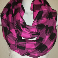 Valentines Day Sale Deep Pink Buffalo Plaid Infinity Scarf Eternity Loop Fashion Scarf Winter Scarf Plaid Scarf Women Scarf Infinity Scarves
