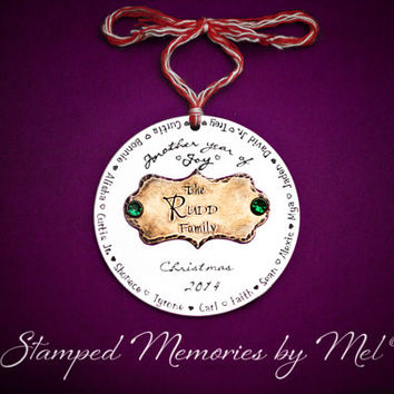 Another Year of Joy - Hand Stamped Personalized Aluminum and Copper Family Ornament - Christmas Decoration -  Handmade Family Keepsake