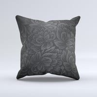 Black & Gray Dark Lace Floral Ink-Fuzed Decorative Throw Pillow