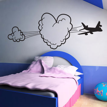 Vinyl Wall Decal Sticker Heart Shaped Cloud with Airplane #OS_DC799
