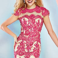Short Lace Dress with Cap Sleeves by Angela and Allison