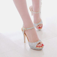 Women's Sandals Open Toe Platform Ankle Straps Sequins Shiny Shoes Evening Party