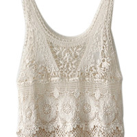 ROMWE Backless Lace Crochet Cream Vest