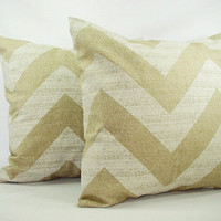 Set of Two Chevron Throw Pillow Covers Beige and White- 18 x 18 inches Couch Pillow Cushion Cover Accent Pillow