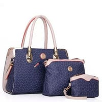Vintage Shopping Tote with Cross-body and Cosmetic Purse 3 pcs Handbag Set