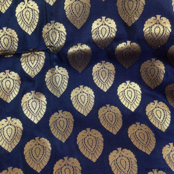 Navy and Gold Pure Silk Fabric Half Yard- Gold Jari Weaving Silk for Dresses / Costumes / Home Furnishing