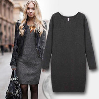 Long-Sleeve Knitted Dress
