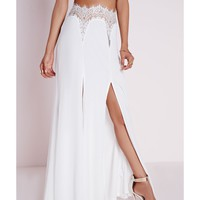 Missguided - Lace Front Maxi Skirt White