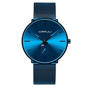 Mens Watches Ultra-Thin Minimalist Waterproof - Fashion Wrist Watch for Men Unisex Dress with Stainless Steel Mesh Band bright blue