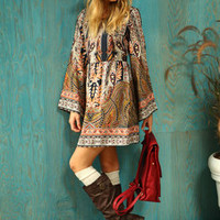 Scarf Print Bell Sleeve Dress