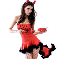 Red Little Sexy Devil Tube Bra Top Banheau Costume Uniform for Roleplay Cosplay Party _ 2987