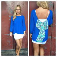 Royal Blue Blouse with Aztec Print Bow