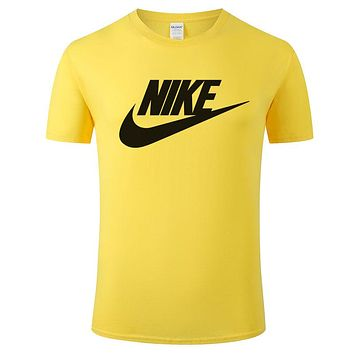 NIKE tide brand men and women loose casual sports half sleeve t-shirt Yellow
