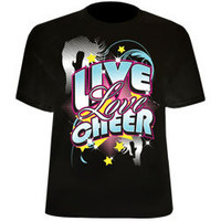 Live Love Cheer Prnted Black Tee for Cheerleading Girls and Women