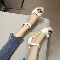 Bow Woven Wedges Sandals Pumps Platform High-heeled Shoes Woman