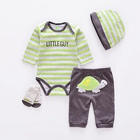 Baby Clothing Sets cotton boy clothes suit born girl suit long sleeve infant bodysuits+pants+socks+hat