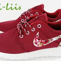 Custom Nike Roshe Run athletic running shoes with floral print