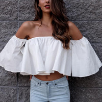 Summer Style White Crop Top Women Ruffles Cropped Beach Slash Neck blusa Blouse Casual Sexy ropa mujer veste femme Boho Gypsy