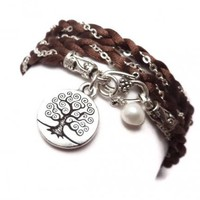Braided Satin and Chain Wrap Charm Bracelet with Tree of Life   charmed design