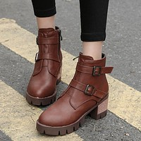 Buckle Belt Motorcycle Boots Chunky Heel Platform Ankle Boots 5730