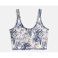 Jade Crop Yoga Top - Mono Palm print