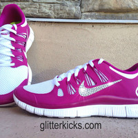 Women's Nike Free Run 5.0+ Running Jogging Training Shoes Customized With Swarovski Elements Crystal Rhinestones Magenta Pink White