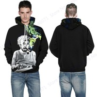 Smoking Einstein Mens Skateboarding Hoodies & Sweatshirts Winter Black Loose Sports Suits Autumn Hooded Sweaters Jogging Suits