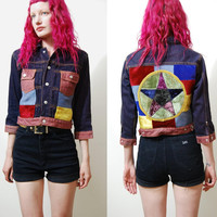 PATCHWORK Jacket Velvet PENTAGRAM Pentacle Patch Grunge Gypsy Hippie Bohemian 90s Denim Cropped XS S