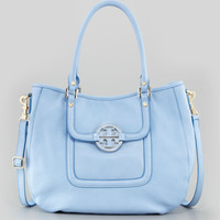 Tory Burch Amanda Patent Classic Hobo Bag, Light Blue