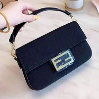 FENDI Popular Women Leather Handbag Satchel Crossbody Shoulder Bag Black