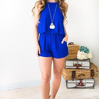 Follow Where She Goes Royal Romper