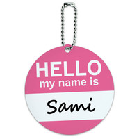 Sami Hello My Name Is Round ID Card Luggage Tag