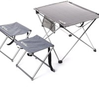 Folding Camping Hiking Picnic Foldable Table with 2 Stools Chairs