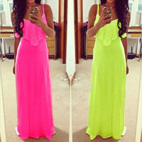 Lady Long Maxi Summer Beach Party Backless Sundress Womens Sexy Casual Dress Hot = 5738231489
