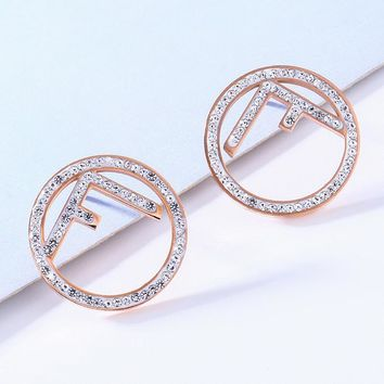 FENDI Fashion Women F Letter Circular Diamond Earrings Accessories Jewelry