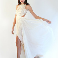 Backless Lace and Silk Chiffon Blush and Ivory Gown - Solaine