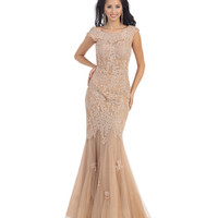 Preorder -  Nude Lace Cap Sleeve Mermaid Gown 2015 Prom Dresses