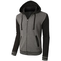 PREMIUM Mens Varsity Baseball Bomber Fleece Jacket with Hoodie (CLEARANCE)