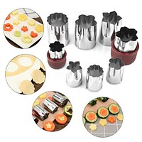 8pcs Stainless Steel Puzzle Fruit Vegetable Cutter Sushi Kitchen Tools Mold Flower Shape Cookie Fondant Pastry Mould Accessories