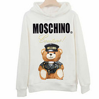 Moschino 2018 new cotton bear print men and women hooded sweater White