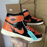 AJ 1 Air Jordan 1 high-top patent leather distressed basketball shoes