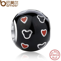 925 Sterling Silver Mickey & Red Heart Charm Fit Bracelet & Necklace Black and Red Enamel Ball Jewelry Making PAS161