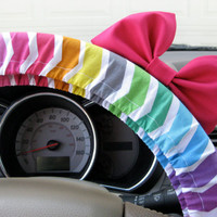 Excited Rainbow Chevron Steering Wheel Cover with by BeauFleurs