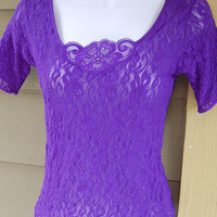 Vintage 80s Purple Lace Sexy Sheer See Through Short Sleeve Shirt Top Size Small
