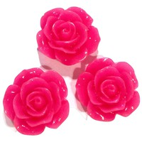 Hot pink flower resin cabochon 15mm / 1-5 pieces