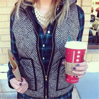 Autumn&Winter Real Photo Designer Inspired Cotton Textured Herringbone Quilted Puffer Vest Gold Zipper Size S-XXXL