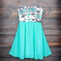 aztec sequin strapless sweetheart dress | turquoise Day-First™