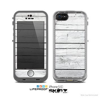 The White Wood Planks Skin for the Apple iPhone 5c LifeProof Case