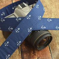 Navy Blue Anchor Camera Strap - fits Canon dSLR, Nikon dSLR etc - Nautical Camera Strap - Summer Camera Strap